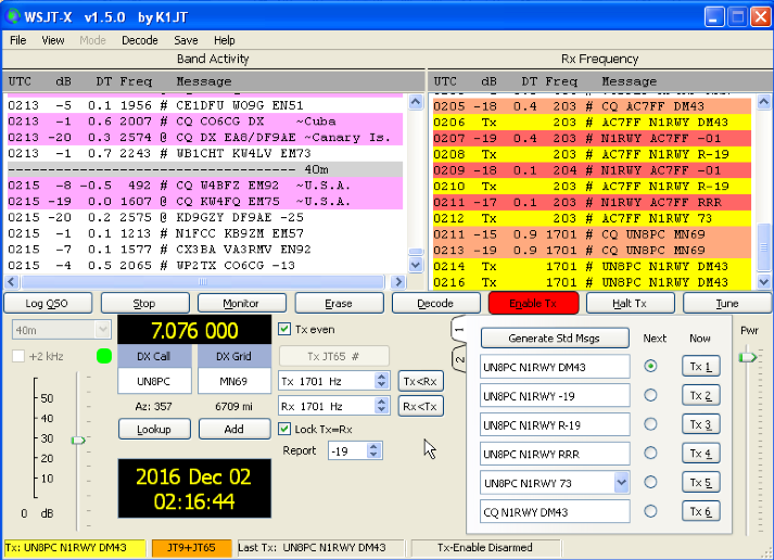 AC7FF and N1RWY on JT65