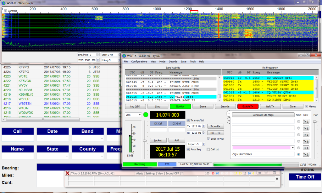 working stations in the FT8 mode