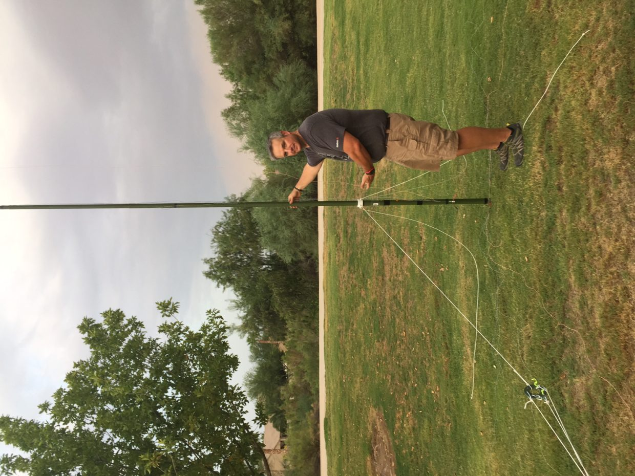 N1RWY with the ethernet vertical antenna taped to a Jackite pole