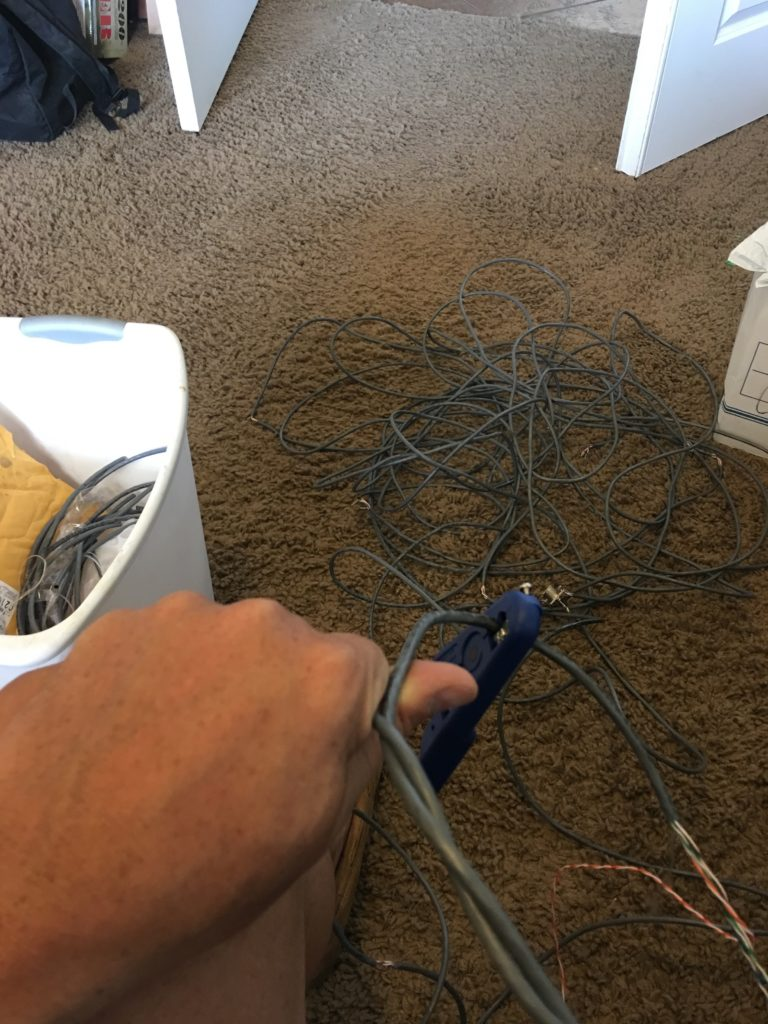 removing the sheath from Cat 6 cable