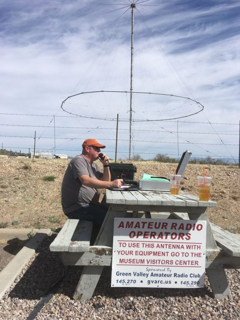 image od Dave working stations on the discone antenna